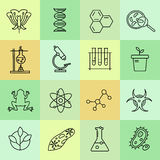 Set of modern linear icons with biology elements. Vector logos for science and education Stock Photos