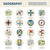 Set of modern linear icons with geography elements. Vector colored logos for design Stock Photography