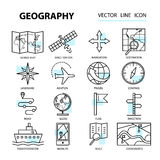 Set of modern linear icons with geography elements. Vector illustration for design vector illustration
