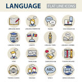 Set modern linear icons on the topic of learning a foreign language. Vector color logos for schools, colleges and universities Stock Photography