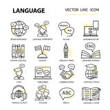 Set modern linear icons on the topic of learning a foreign language. vector illustration
