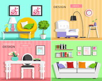 Set of modern living room interior elements: sofa, armchair, chair, table, lamp, shelves, pictures. Flat style. Royalty Free Stock Photo