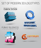 Set of modern logotypes in 3D Royalty Free Stock Images