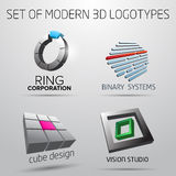 Set of modern logotypes in 3D. With examples of usage vector illustration