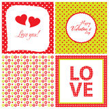Set of modern love card with heart Stock Photos