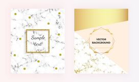 Geometric modern cover designs with gold lines, colorful background set. Template for invitation, card, design, banner, wedding, w. Set modern marble texture vector illustration