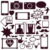 Set of modern media communication and hipster elements Royalty Free Stock Image