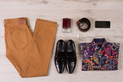 Set of modern men's clothing. Royalty Free Stock Photos