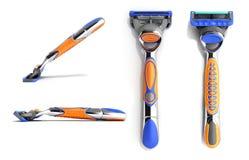 Set of modern Mens razor 3d render on white background. Set of modern Mens razor 3d render on white Stock Photo