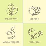 Set modern minimalistic  logo and icon of food. Royalty Free Stock Image