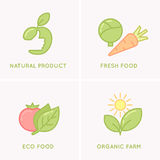 Set modern minimalistic  logo and icon of food. Royalty Free Stock Images