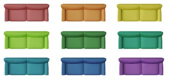 Set of 9 modern monochrome and colored sofa, isolated on white background, above, plan, top view, contemporary furniture concept. Idea, mock-up template royalty free stock images