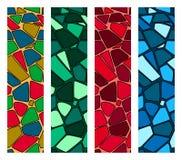 Set of modern mosaic seamless pattern of multicolored shapes stock illustration