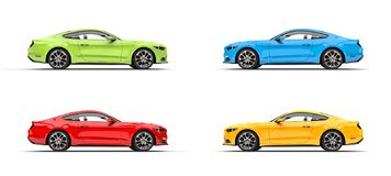 Set of modern muscle sports cars - side shot. Isolated on white background stock illustration