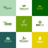 Set of modern natural and organic products logo templates and ic Royalty Free Stock Photo
