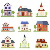 Set with modern nice private houses and church buildings of different shapes and colors royalty free illustration