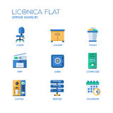 Set of modern office flat design icons and pictograms Royalty Free Stock Photos