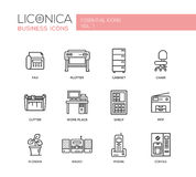 Set of modern office flat design icons and pictograms Stock Photos