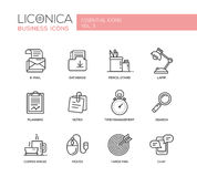 Set of modern office flat design icons and pictograms. Royalty Free Stock Photography