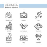 Set of modern office line flat design icons and pictograms Stock Image