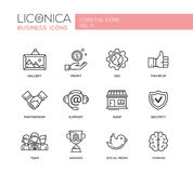 Set of modern office line flat design icons and pictograms Stock Photo