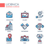 Set of modern office line flat design icons and pictograms. Stock Photo