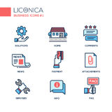 Set of modern office line flat design icons and pictograms. Royalty Free Stock Photography