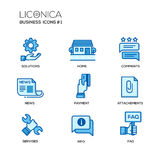 Set of modern office line flat design icons and pictograms Royalty Free Stock Photo