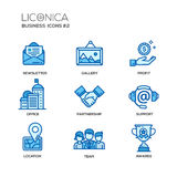 Set of modern office line flat design icons and pictograms Royalty Free Stock Image