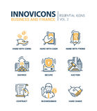 Set of modern office thin line flat design icons Royalty Free Stock Photo