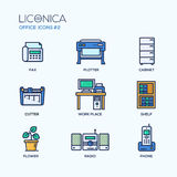 Set of modern office thin line flat design icons Stock Images