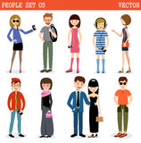 Set of modern people, men and women. Royalty Free Stock Photo