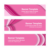 Set of modern pink horizontal vector banners in a material design style. Can be used as a business template or in a web design. Vector illustration Stock Photo
