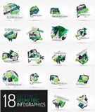 Set of modern polygonal origami paper infographics Stock Photography