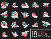 Set of modern polygonal origami paper infographics Stock Photos