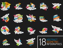 Set of modern polygonal origami paper infographics Royalty Free Stock Images