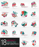 Set of modern polygonal origami paper infographics Royalty Free Stock Photos