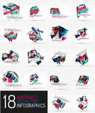 Set of modern polygonal origami paper infographics Stock Images