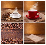 Set of modern posters with coffee backgrounds. Trendy hipster templates for flyers, banners, invitations, restaurant or Stock Photography