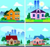 Set with modern private houses. Cute houses with city background. Flat style vector illustration vector illustration