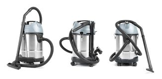 Set with modern professional carpet cleaner. On white background stock images