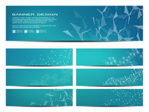 Set of modern scientific banners. Molecular structure of DNA and neurons. Geometric abstract background. Medicine stock illustration
