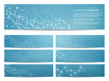 Set of modern scientific banners. Molecule structure DNA and neurons. Abstract background. Medicine, science, technology Royalty Free Stock Photography