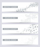 Set of modern scientific banners. Molecule structure DNA and neurons. Abstract background. Medicine, science, technology Royalty Free Stock Photo