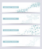 Set of modern scientific banners. Molecule structure DNA and neurons. Abstract background. Medicine, science, technology Royalty Free Stock Images