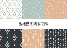 Set of modern seamless hand drawn geometric tribal patterns. Vector navajo design. Royalty Free Stock Photos