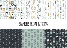 Set of modern seamless hand drawn geometric tribal patterns. Vector navajo design. Royalty Free Stock Images