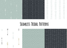 Set of modern seamless hand drawn geometric tribal patterns. Vector navajo design. Royalty Free Stock Photo