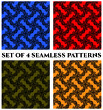 Set of 4 modern seamless patterns with black fractal ornament on red, blue, green and yellow backgrounds Royalty Free Stock Photography