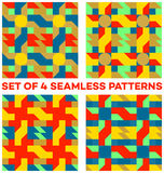 Set of 4 modern seamless patterns with different geometric shapes of red, blue, green, golden and yellow shades Royalty Free Stock Photos